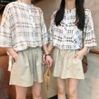 Plaid 3/4-sleeve Blouse / Drawstring Wide-leg Shorts / Set