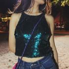 Sequined Halter Cropped Top