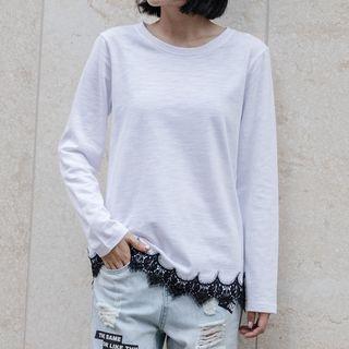 Long-sleeve Lace-hem T-shirt