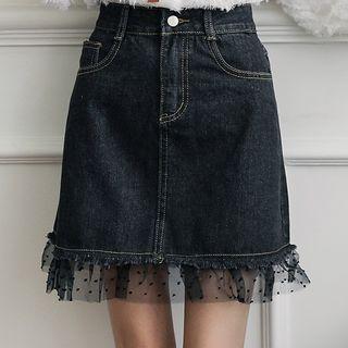 Mesh-hem Mini Denim Skirt