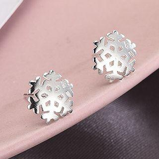 925 Sterling Silver Snowflake Earring Es286 - 1 Pair - One Size