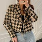 Double-breasted Houndstooth Fleece-line Cropped Blazer As Shown As Figure - One Size