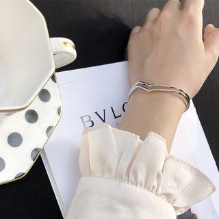 925 Sterling Silver Layered Open Bangle