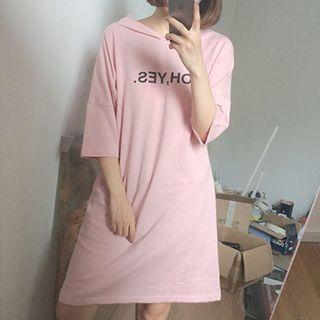 3/4-sleeve Hooded T-shirt Dress