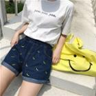 Banana Print Denim Shorts