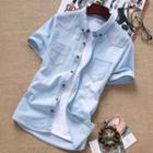 Short-sleeve Button-down Collar Denim Shirt
