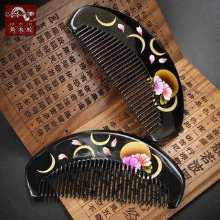Moon & Floral Print Wooden Hair Comb As Shown In Figure - One Size