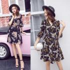Print Elbow-sleeve A-line Chiffon Dress