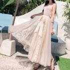 Sleeveless Lace Chiffon Maxi Dress