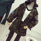 Hooded Camo Trench Jacket