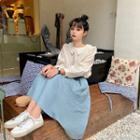 Set Striped Shirt + High-waist Semi Skirt