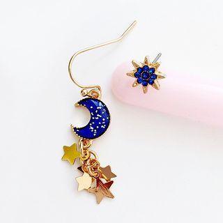 Moon Star Non-matching Earring