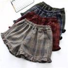 Ruffle-hem Gingham Shorts