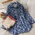 Set: Printed Smocked Tube Top + Mini Shirtdress
