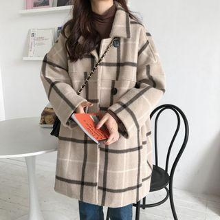 Buttoned Plaid Coat Almond - One Size