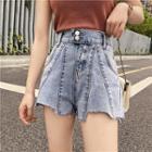 Asymmetric Frayed Hem Wide-leg Denim Shorts