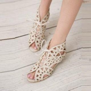 Faux-leather Cutout Sandals