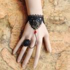 Crochet Bracelet With Flower Ring