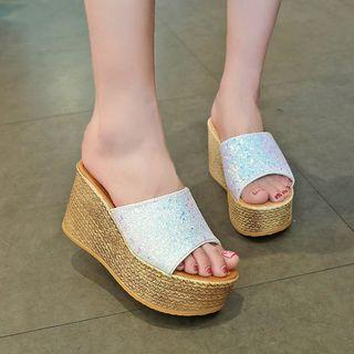 Sequined Platform Wedge Slippers
