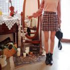 Dual-pocket Tweed Mini Skirt