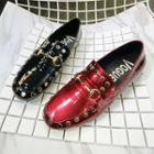 Studded Faux Patent Leather Loafers