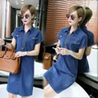 Short-sleeve Stitched Denim Shirtdress