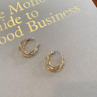 Layered Ring Earrings Gold - One Size