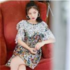 Lace Panel Floral Short-sleeve Dress
