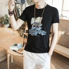 Qilin Embroidered Short Sleeve T-shirt