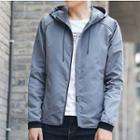 Striped Trim Hooded Zip Jacket