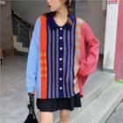 Long-sleeve Patterned Knit Cardigan As Shown In Figure - One Size