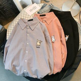 Couple Matching Long-sleeve Kitten Embroidered Shirt