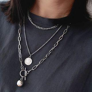 Stainless Steel Pendant Layered Necklace Silver - One Size