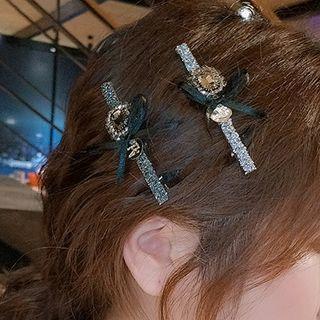 Retro Rhinestone Bow Hair Clip