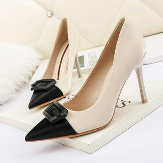 Color Block Buckle Pointy-toe Heel Pumps