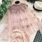 Set: Lace Panel Mesh Blouse + Camisole