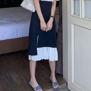 High-waist Panel Pleated Midi Skirt