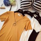 Zip Front Short Sleeve Knit T-shirt