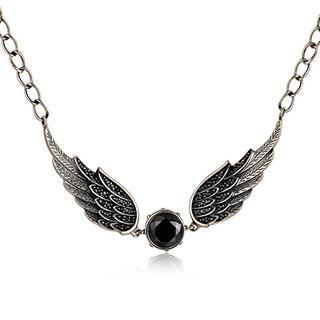 Left Right Accessory - 925 Sterling Silver Black Cubic Zirconia Gothic Claddagh Angle Wing Necklace (16)