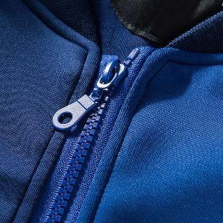 Contrast Trim Applique Panel Zip Jacket