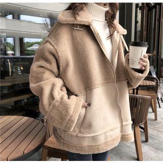 Patchwork Stand-collar Coat