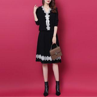 Set: Lace Trim Bow Sweater + Midi A-line Knit Skirt