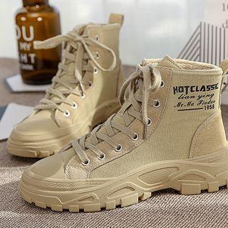 Fleece-lined Lettering Lace-up Platform Sneakers