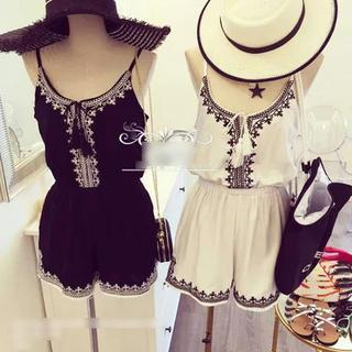 Pattern Fringed Playsuit