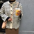 Striped Crewneck Cardigan