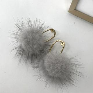 Faux-fur Hoop Earrings Gold - One Size