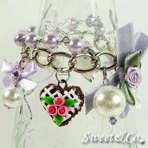 Mini Heart Cake Crystal Purple Pearl Bracelet
