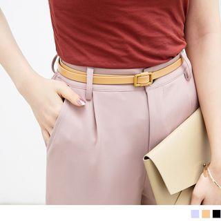 Retro Faux Leather Slim Belt