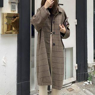 Plaid Single-breasted Long Coat Coffee - One Size