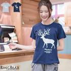 Short Sleeve Deer Printed Tee